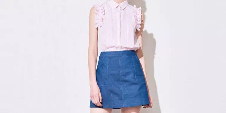 小短裙搭配修身轻薄上衣 清新好看还简单