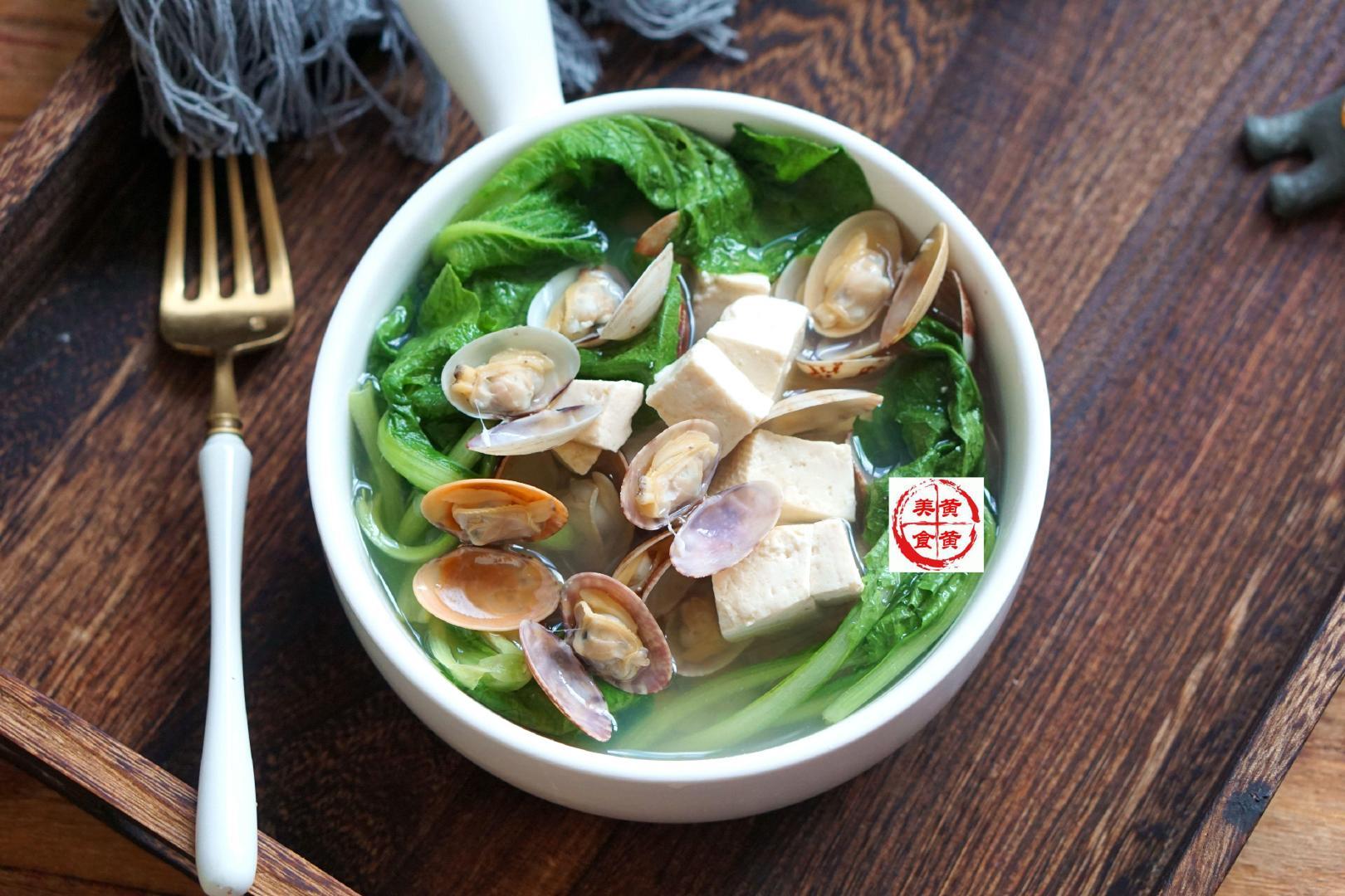 豆腐青菜花蛤汤