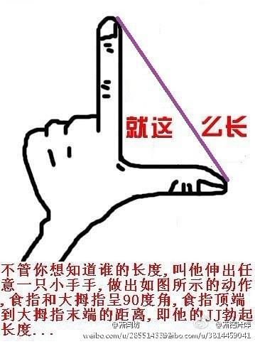 不管你想知道谁的长度,叫他伸出任意一只小手手,叫他做出如图所示的动作,食指和拇指呈90度角,食指顶端到拇指末端的距离,即是他jj勃起的长度。