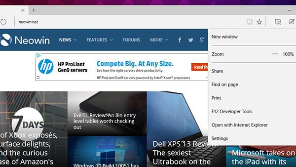 Windows 10 build 10051:Spartan浏览器内置IE打开页面功能的照片