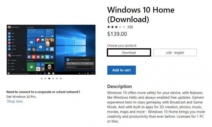 微软Win10 Home的价格悄悄上涨至139美元的照片