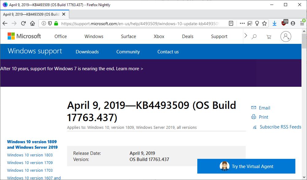 微软确认Win10累积更新KB4493509与KB4493464中又有新错误的照片