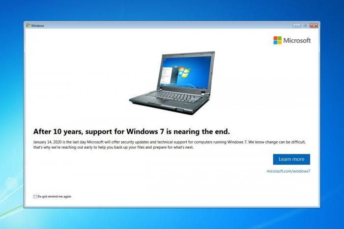 Win7用户开始收到支持服务终止提醒通知