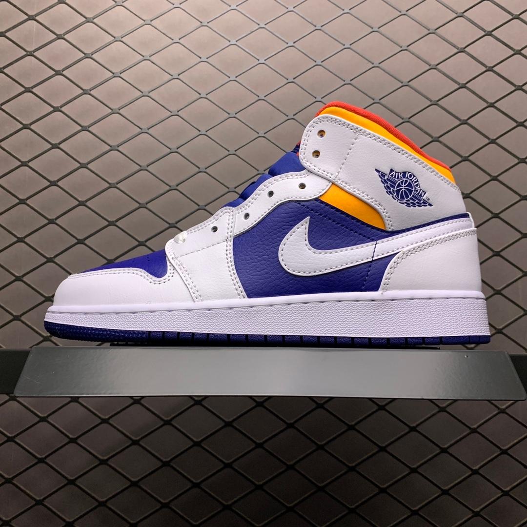 NIKE 耐克 Air Jordan 1 Mid GS Aj1 中帮篮球休闲板鞋拼色(蓝白橙)货号:55547225-131 女鞋