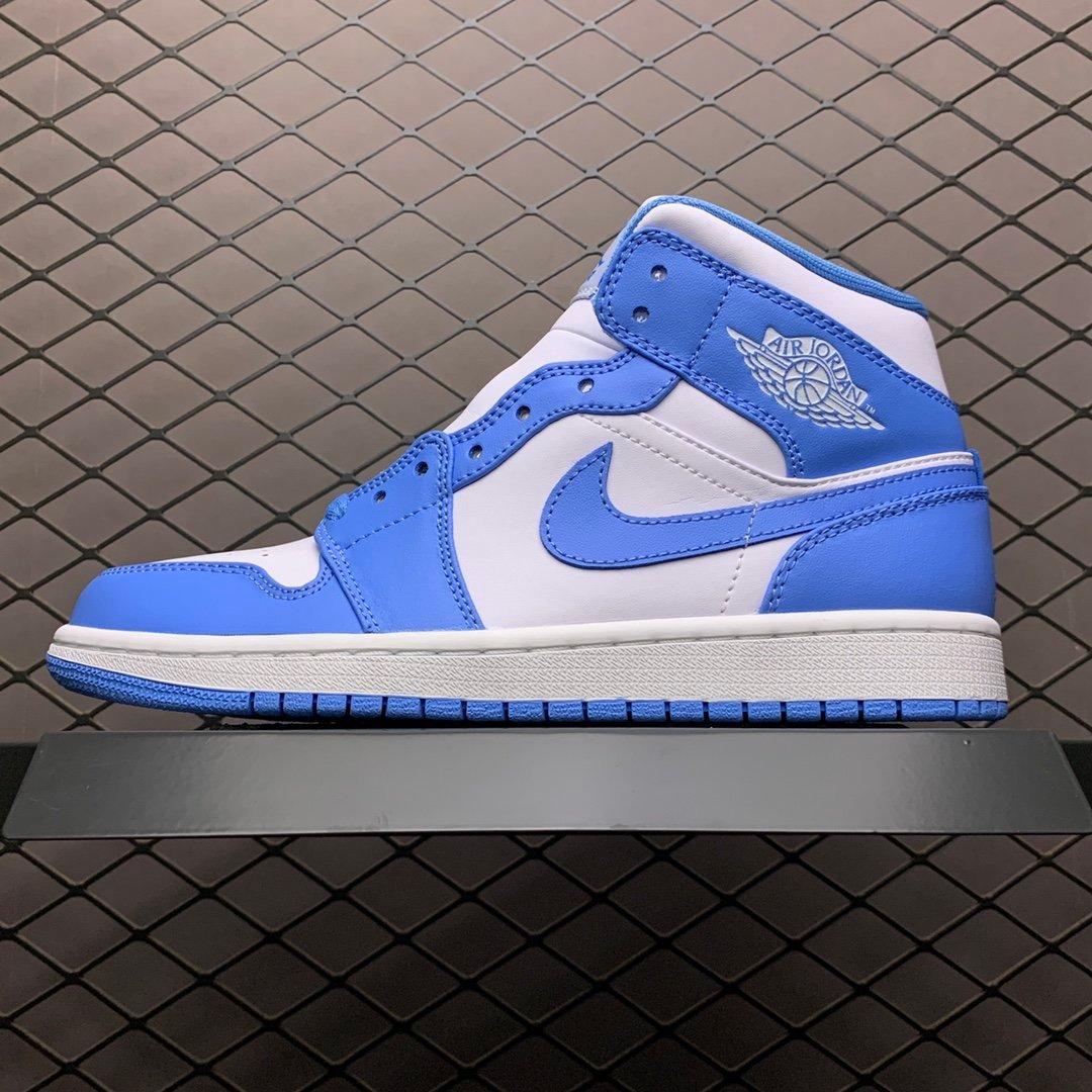 NIKE 耐克 Air Jordan 1 Mid SE AJ1乔1中帮文化篮球鞋拼色(蓝白)  男鞋 554724-106