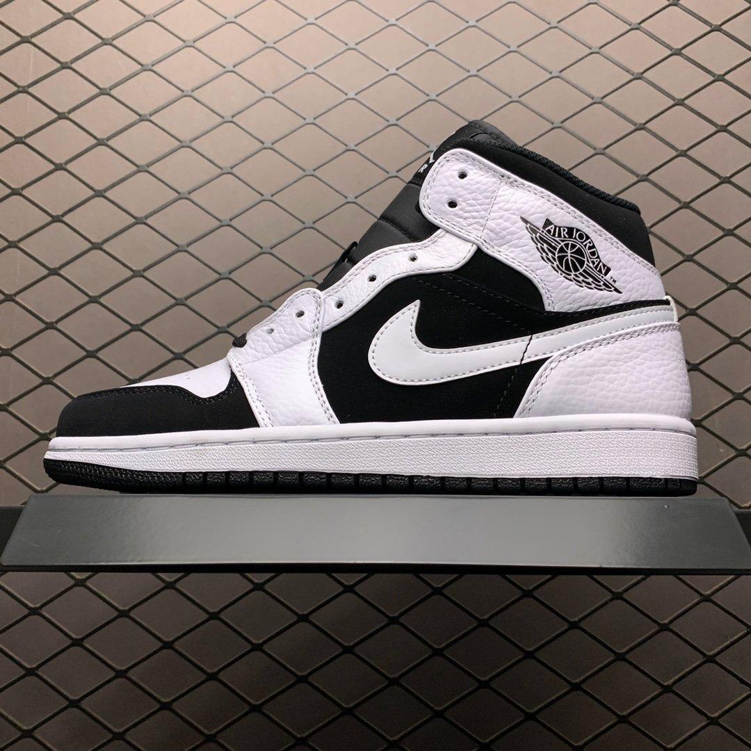 NIKE 耐克 Air Jordan 1 Mid AJ1乔1中帮文化篮球鞋(黑白熊猫)554724-113 男女鞋 莆田鞋