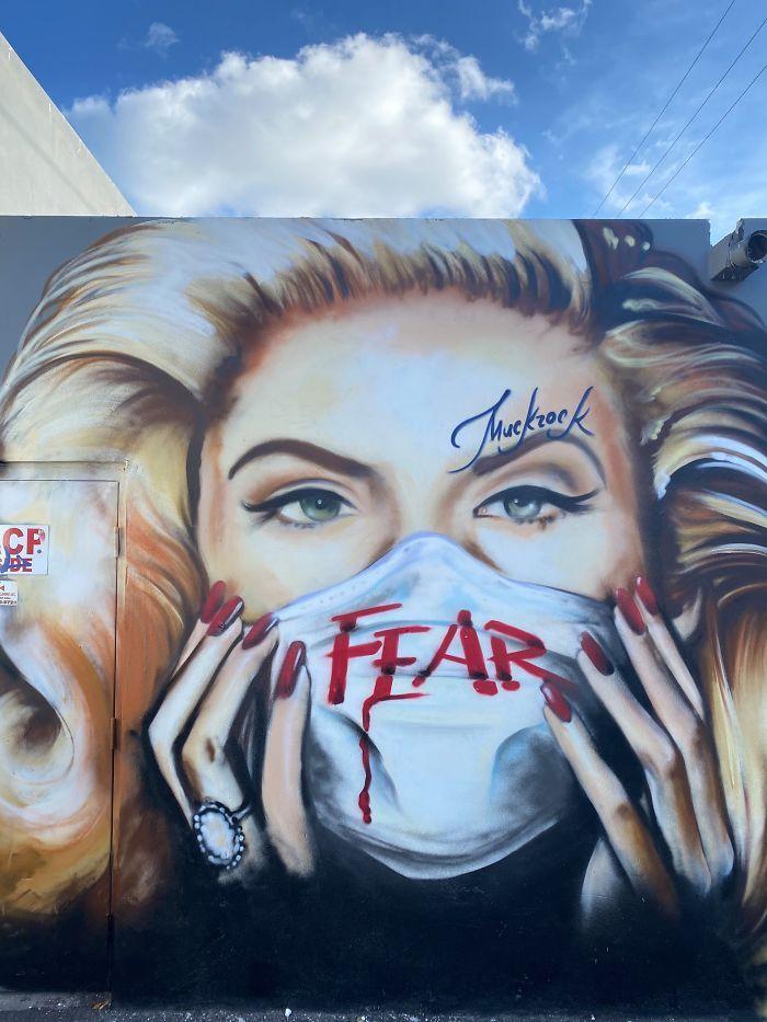 全球新冠肺炎疫情下世界各地的街头涂鸦艺术插图(16)