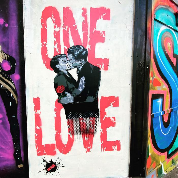 全球新冠肺炎疫情下世界各地的街头涂鸦艺术插图(22)