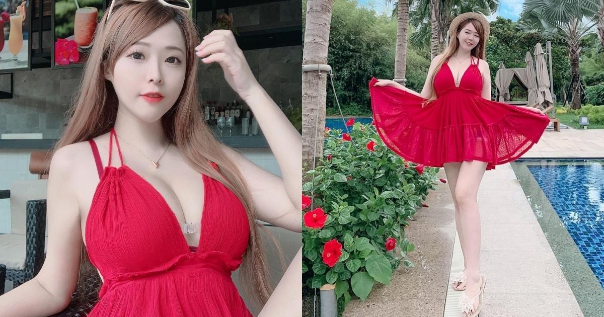 台湾妹子张筱柔胸前丰满的弧度让人看傻了眼 网络美女 第1张