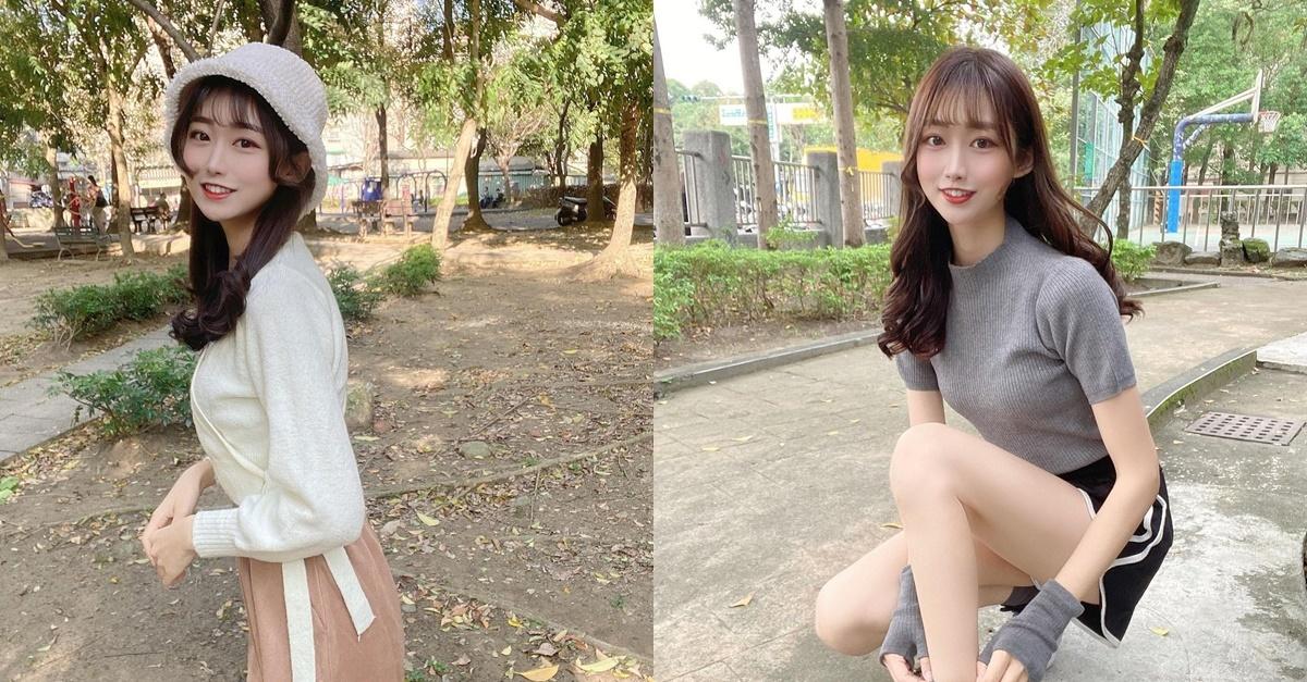 公园散步出没天菜美女Yuna元元,甜甜一笑就让人心动.