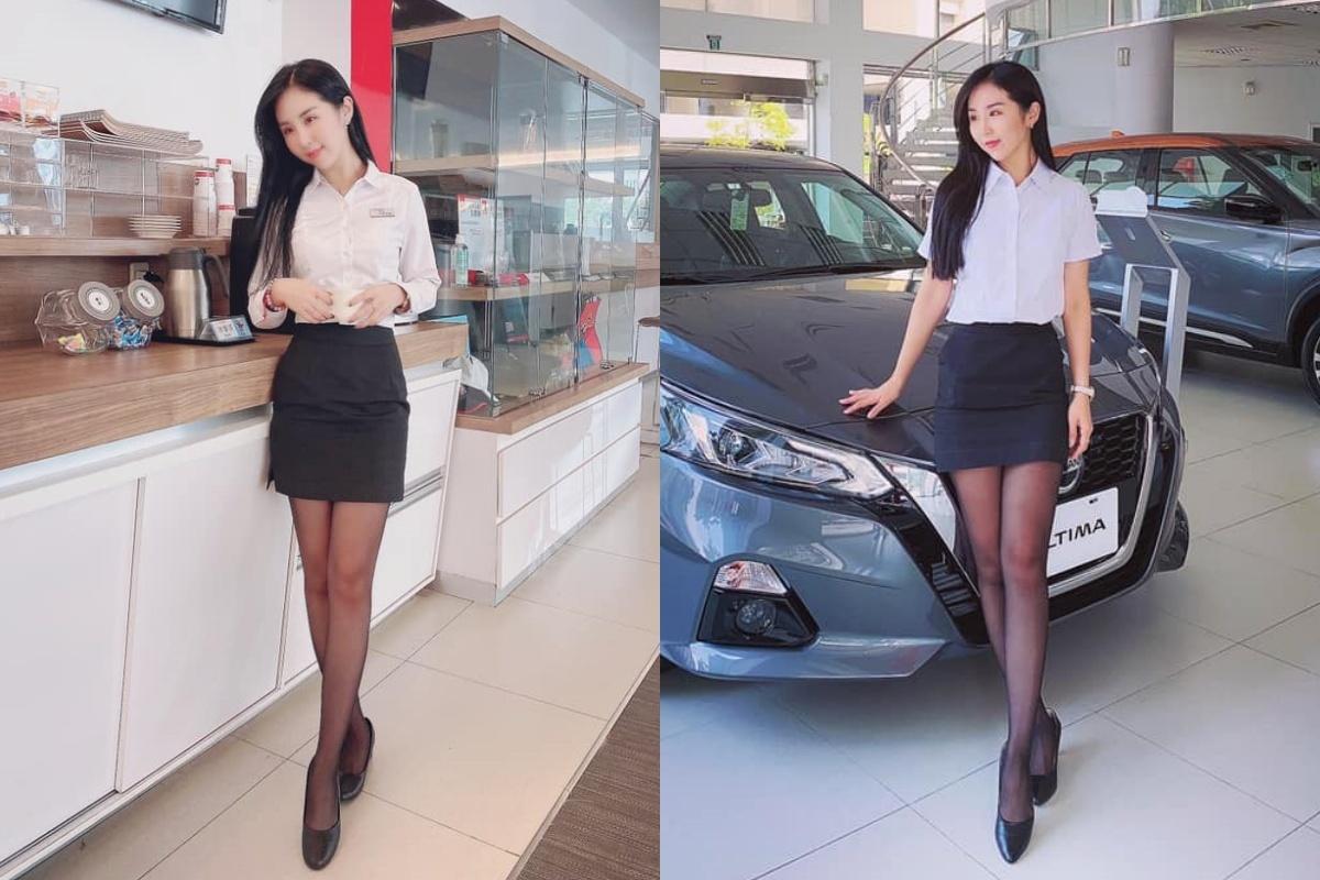 香车就要配美人 Nissan 美女业务芳芳大露黑丝美腿 网络美女 第10张