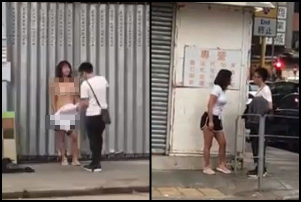 女子不满男友劈腿 竟当街脱光衣服引围观(图)