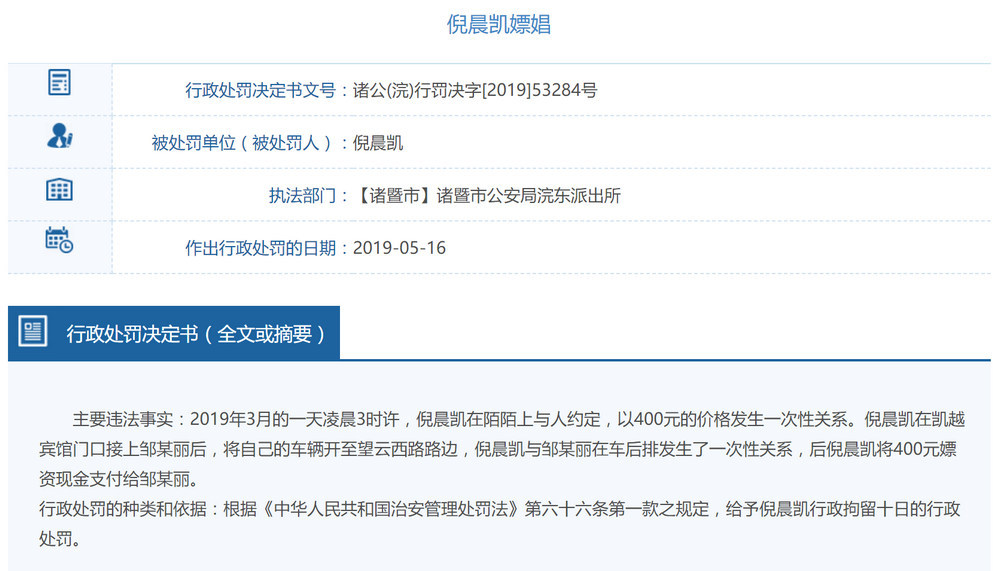 浙江行政处罚,多件嫖娼信息被公开,均价150~400元插图