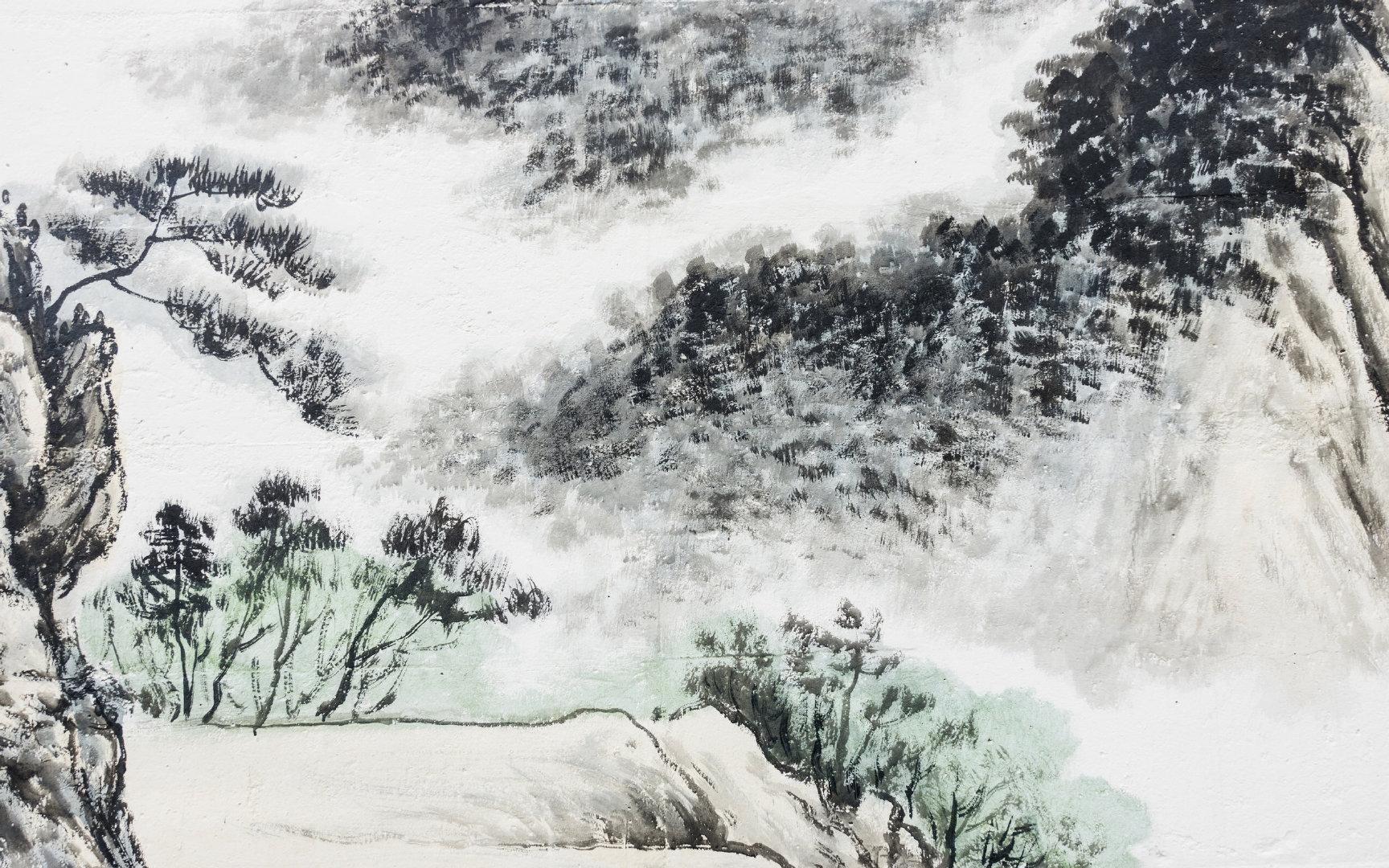 山水水墨画1080P高清壁纸图片