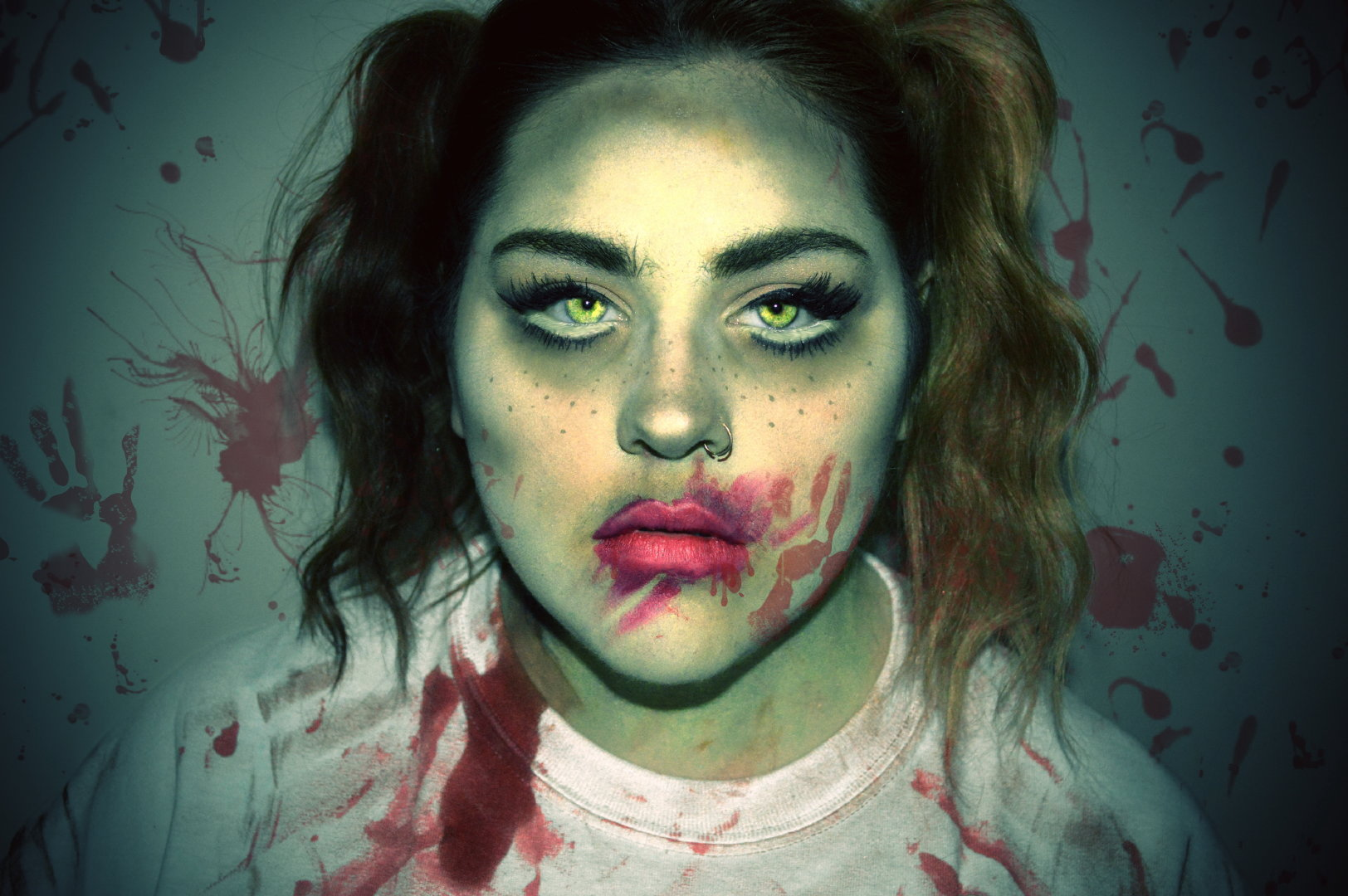女孩恐怖妆容人体艺术摄影