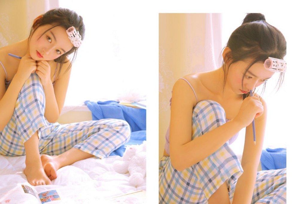 居家吊带睡衣美女私房卧室冷艳清纯梦幻写真