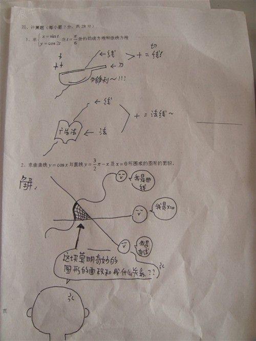 某同学雷晕老师的数学试卷