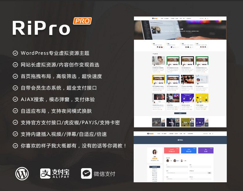 WordPress主题丨日主题作者开发的RiPro主题_虚拟资源商城主题