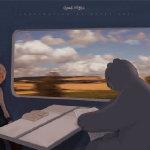 卡通小孩与白熊坐火车看