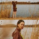李晖红色西服短裙户外拍摄花絮