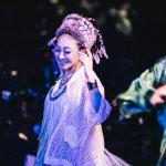 米希亚蓝白条纹长裙网格披风超年轻写真