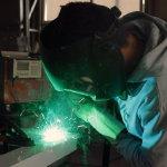 电焊工焊接工作人体艺术摄影